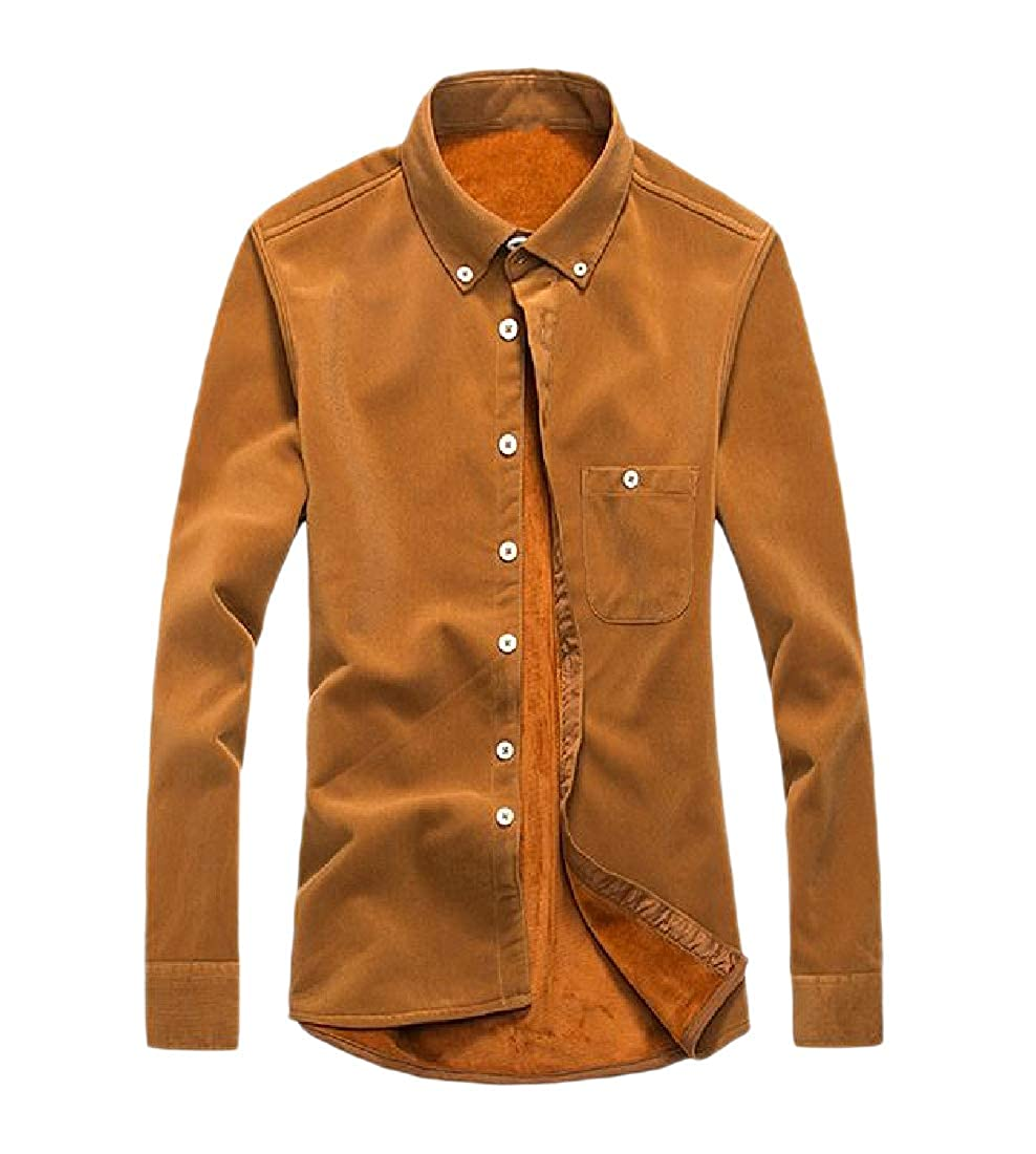 RDHOPE-Men Long-Sleeve Thickened Corduroy Pure Colour Fleece Dress Shirts