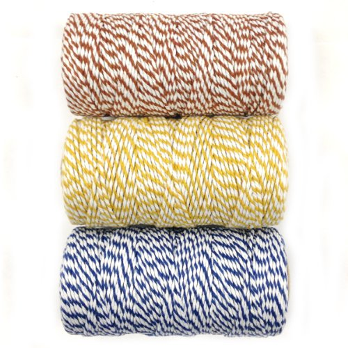 (Wrapables Cotton Baker's Twine 12ply 330 Yards (Set of 3 Spools x 110 Yards) for Gift Wrapping, Party Decor, and Arts and Crafts (Brown, Dark Yellow, Navy) (A66821, A66816, A66818) )