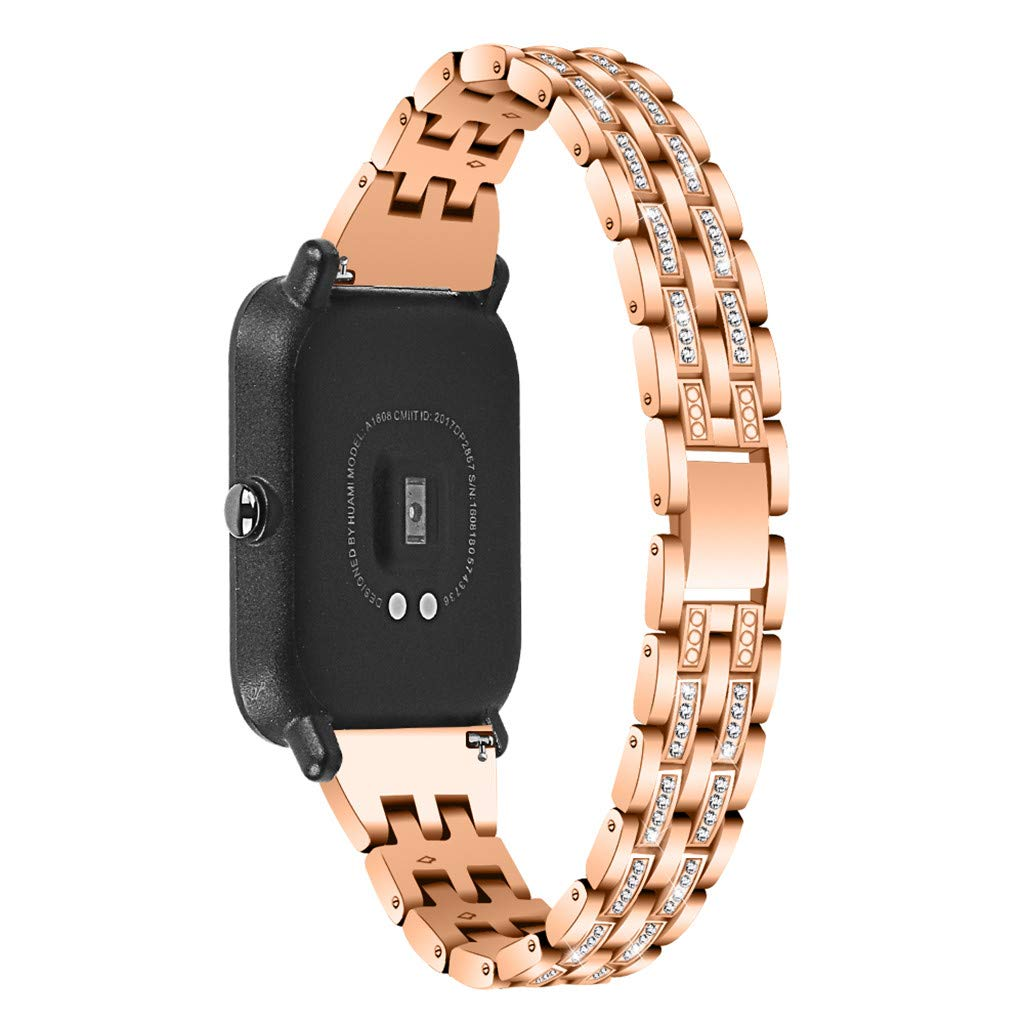 Kuerqi Replacement Accessories for Huami Amazfit Bip Smart Watch Bands, Fashion Luxury Stainless Steel with Jewelry Bling Diamond Embeded Compatible with Amazfit Bip Fits for Women Men Boys Girls by Kuerqi
