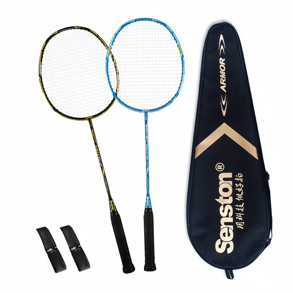 Senston 2 Full Graphite Badminton Racket Set Full Carbon Badminton Racquet(Black+Blue) with Racket Cover and 2 overgrip