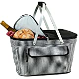 Cheap Picnic at Ascot Large Family Size Insulated Folding Collapsible Picnic Basket Cooler with Sewn in Frame – Houndstooth