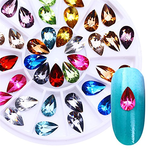BONNIESTORE 5mmX8mm Colorful Crystal Nail Rhinestone Water Drop Flat Bottom Manicure Nail Art 3D Decoration in Wheel for Nails Arts Crafts Cellphones ()