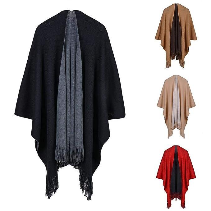 8054c26d2f36dd Sliwei Cappotto con scialle lavorato a maglia per le donne Cappotto per  cardigan con poncho lavorato a maglia con frange da donna: Amazon.it:  Abbigliamento