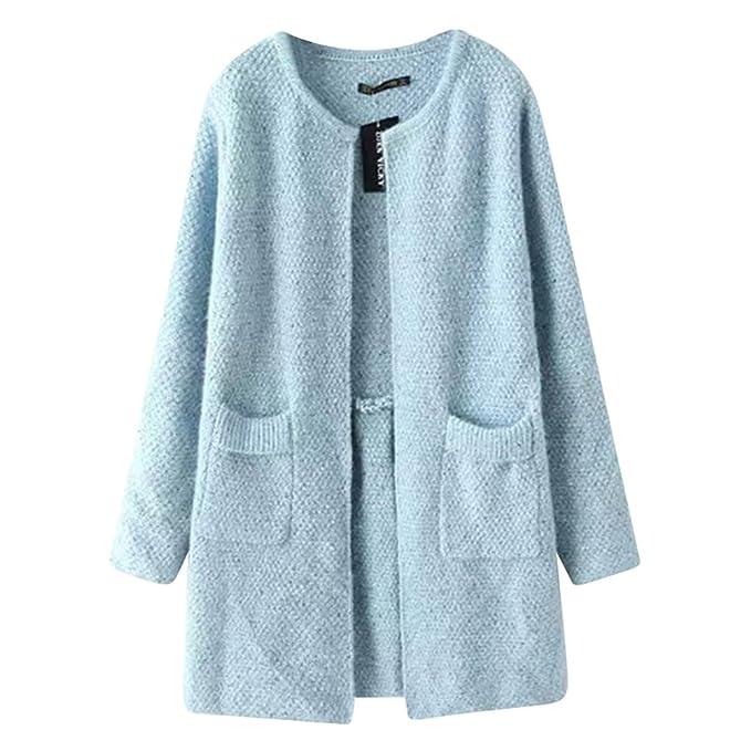 Quge Abrigo de Punto Mujeres Grueso Elegante Casual Cardigan Largo Chaqueta Outwear Azul: Amazon.es: Ropa y accesorios