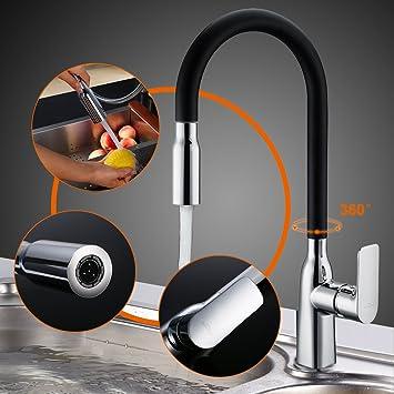 auralum® 360 °rotazione miscelatore cucina doccetta rubinetti ... - Miscelatore Nero Con Doccetta