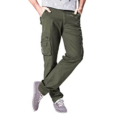 0a9bc7c0 Longay Mens Army Trousers Multi-Pocket Combat Zipper Cargo Waist Work  Casual Pants (29