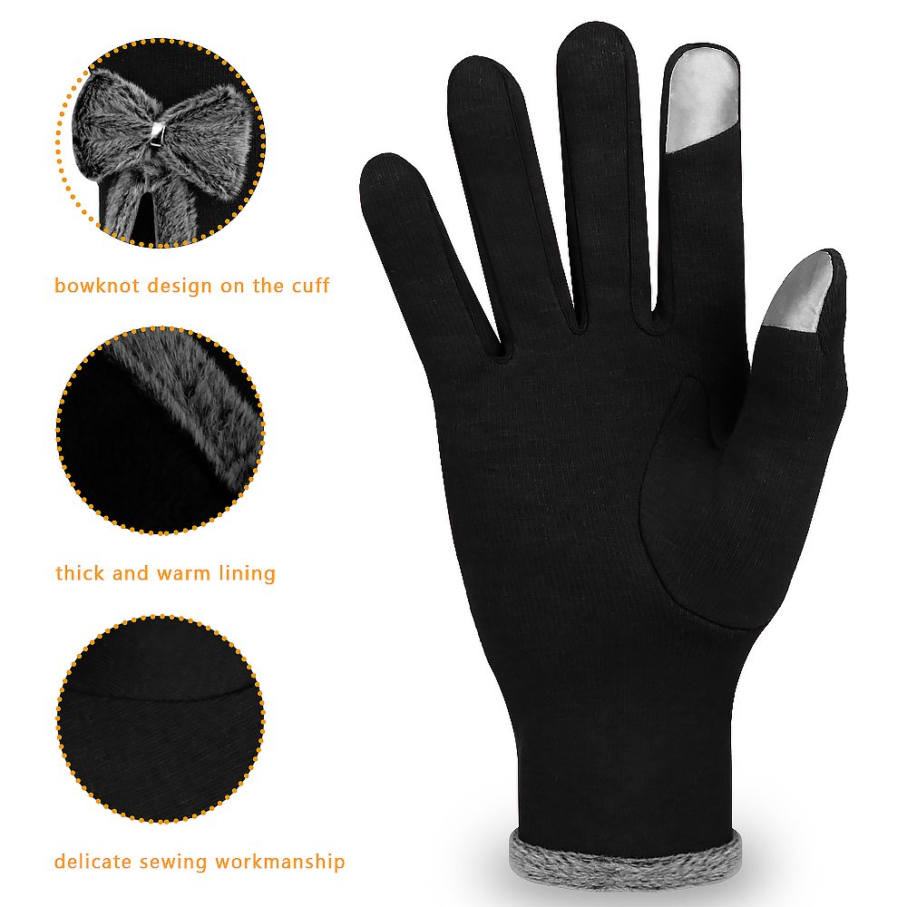 Winter Touch Screen Gloves,IEKA Thick Warmest Windproof Gloves,Fashion Touch Screen Fingers,Suitable for Smartphones and Touchscreen Devices - Black by IEKA (Image #2)