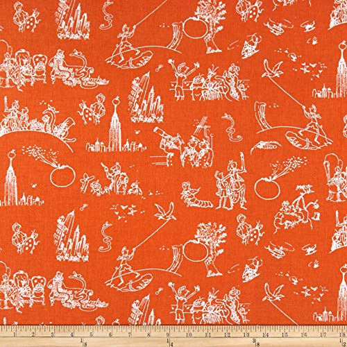 Riley Blake Designs James And The Giant Peach Toile Fabric, Orange, Fabric By The Yard - Orange Toile Fabric