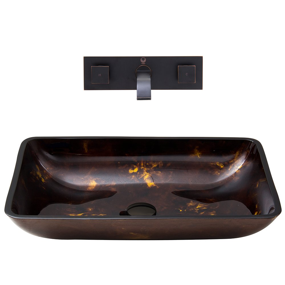 VIGO Rectangular Brown and Gold Fusion Glass Vessel Bathroom Sink and Titus Wall Mount Faucet with Pop Up, Antique Rubbed Bronze