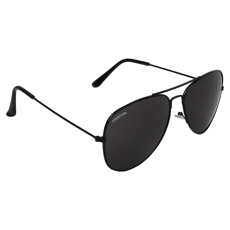 28b9303338f CREATURE Basic Black Aviator Uv-Protected Unisex Sunglasses(Lens-Jet-Black