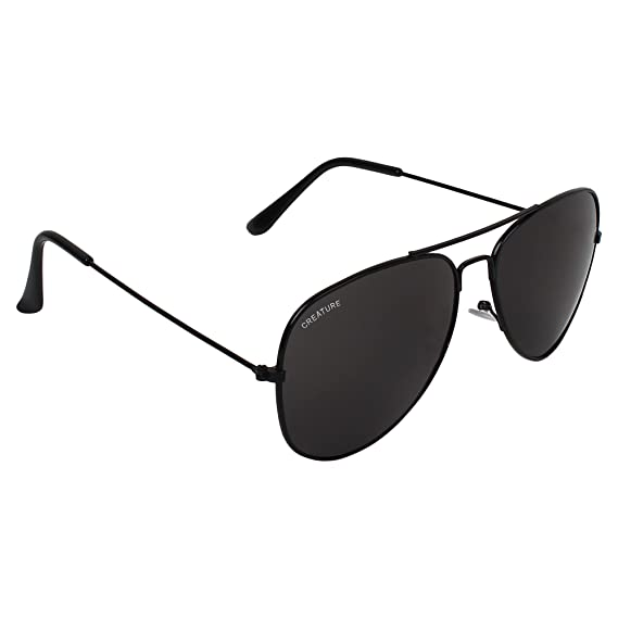 2038e4d1f631 CREATURE Basic Black Aviator Uv-Protected Unisex Sunglasses(Lens-Jet-Black