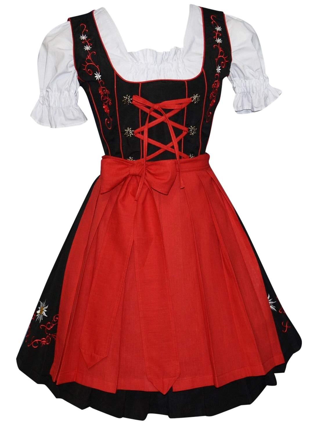 Edelweiss Creek 3-Piece Short German Party Oktoberfest Dirndl Dress Black & Red (14)