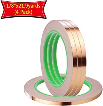 1//8 inch x 55 yds Copper Foil Tape 3mm x 50m EMI Shielding Conductive Adhe