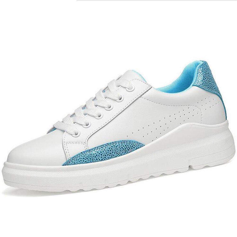 Zapatos de Mujer New Flat Little White Shoes, Zapatos de Cubierta de Cuero, Zapatos de Mujer con Cordones de Luces de Primavera y Verano 35 EU|Segundo