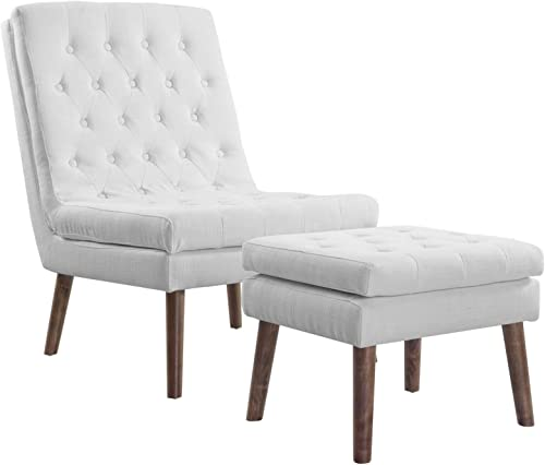 Modway Modify Tufted Modern Lounge Accent Chair and Ottoman Set