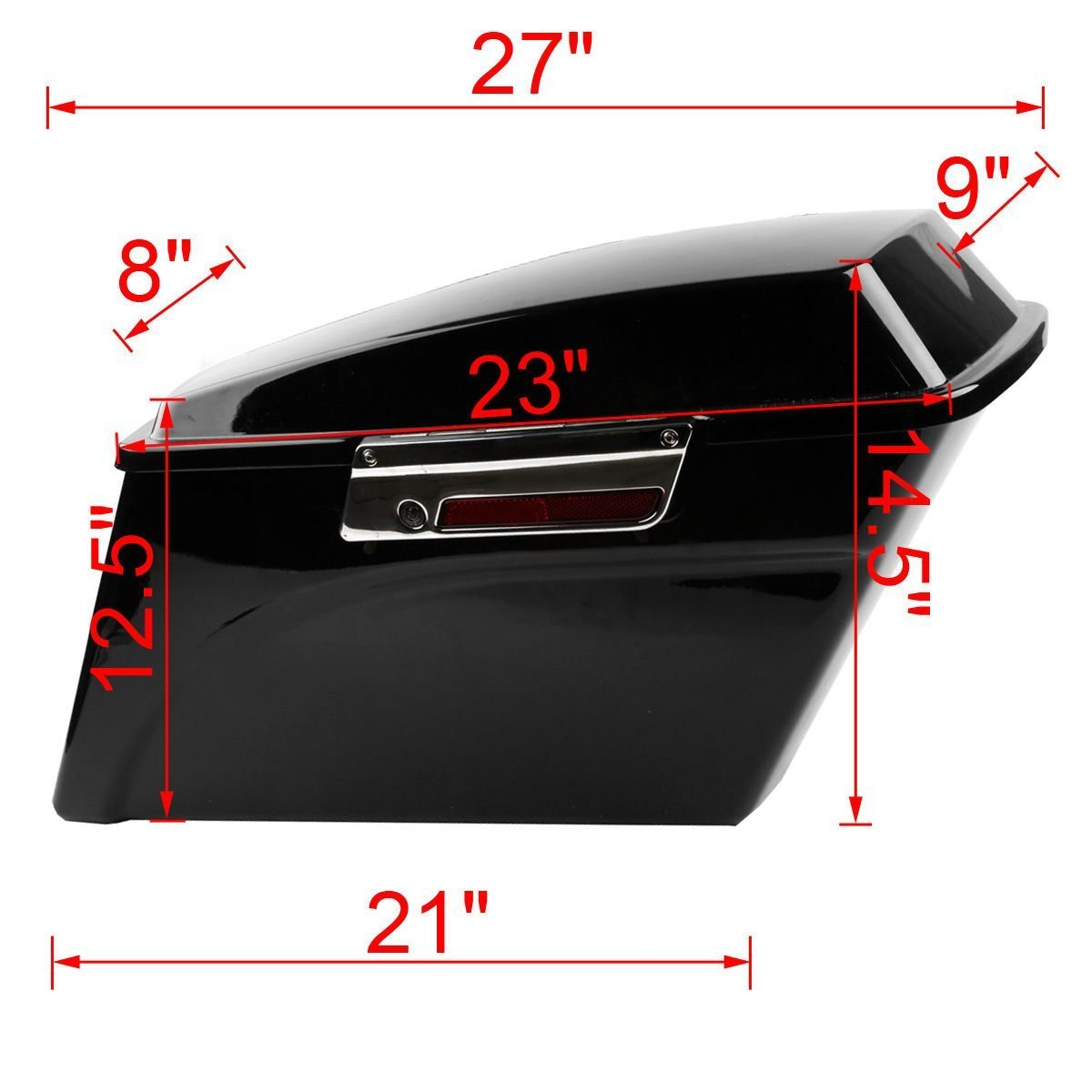 XFMT Gloss Black Hard Saddle bags Trunk w/Lid Latch & Key+Saddlebag Conversion Brackets Mounts Compatible with Harley Davidson Softail 1994-2013 by XFMT (Image #3)