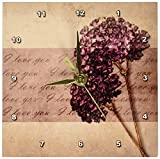 3dRose dc_59972_1 Elegant Warmth I Love You Lavender Floral Flowers Desk Clock, 6 by 6-Inch
