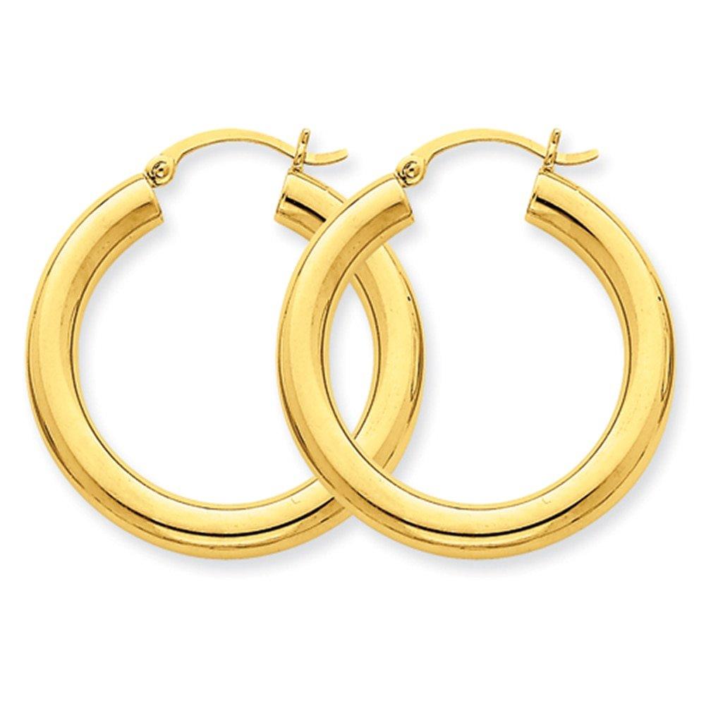 Lex /& Lu 14k Yellow Gold Polished 4mm Lightweight Round Hoop Earrings LAL81598