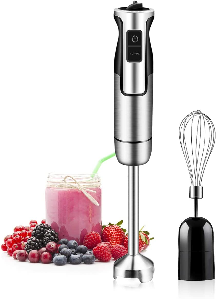 Hand Immersion Blender 500 Watt 8 Speed Control, Handheld Blender Smart 2-in-1 Stick Blender Stainless Steel With Whisk