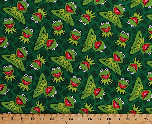 - Cotton Kermit Toss Kermit the Frog Muppets Green Frogs Cotton Fabric Print by the Yard (16097)