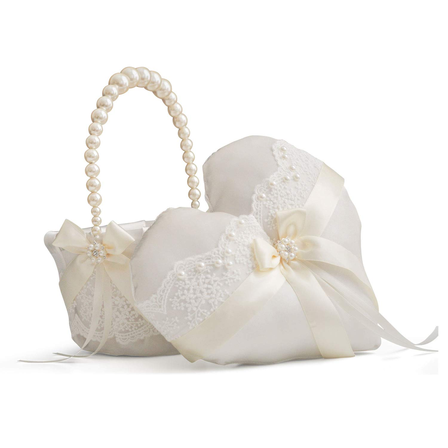Alex Emotions Ivory Ring Bearer Pillow and Flower Girl Basket Set, Heart Ring Pillow, Lace Wedding Basket, Pearl Handle Basket, Ivory Ring Holder, Ivory Flower Baskets, Ivory Wedding Pillow by Alex Emotions