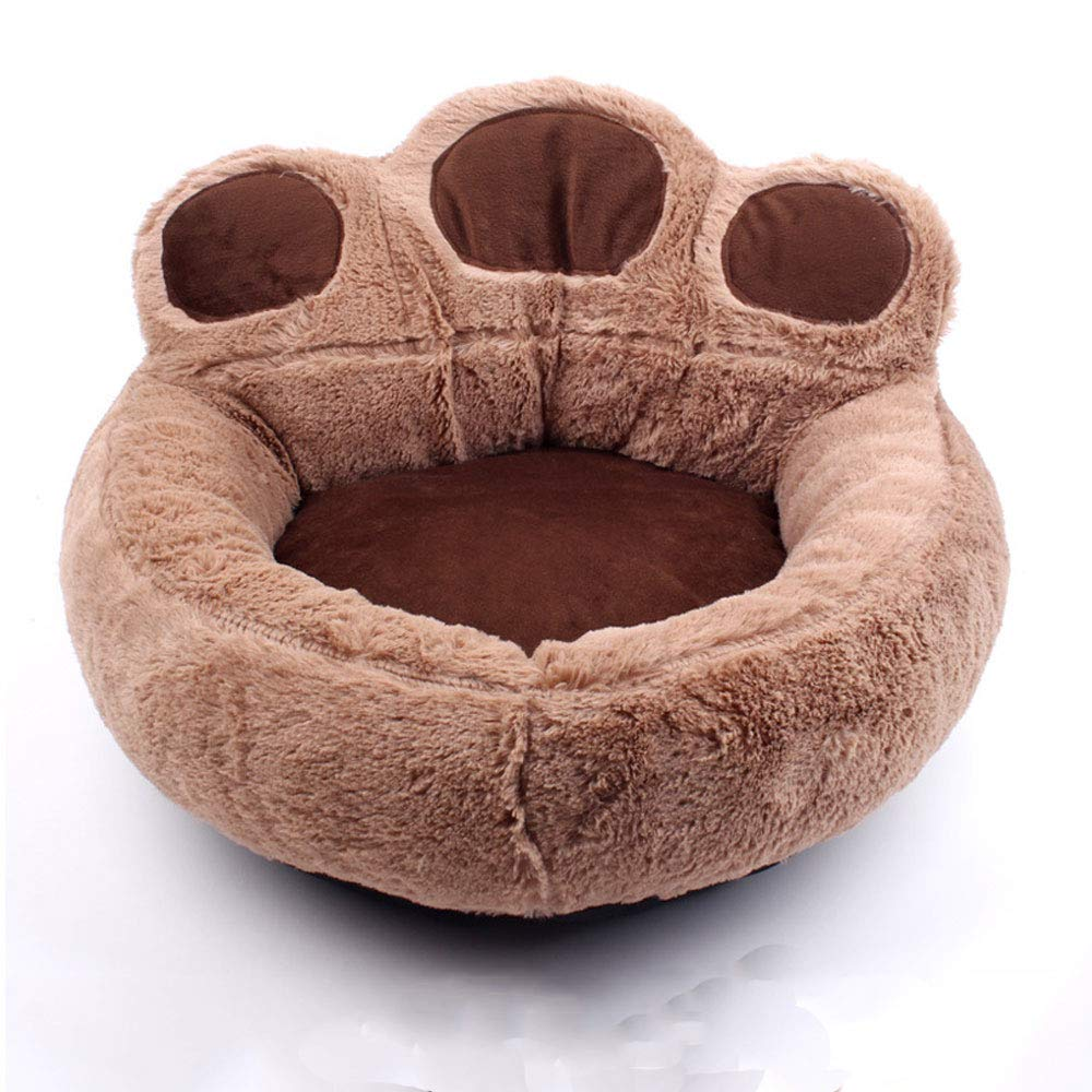 BROWN M BROWN M Bear Paw Kennel Cat Nest Four Seasons Universal Plus Mat Pet Nest Small Dog Teddy Pet Mat (color   Brown, Size   M)