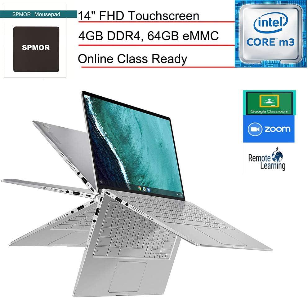 "(Renewed) ASUS Chromebook Flip C434 14 Convertible 2-in-1 Laptop Computer, 14"" FHD Touchscreen, 8th Gen Intel Core m3-8100Y, 4GB RAM, 64GB eMMC, Online Class Ready, Chrome OS, SPMOR Mousepad"