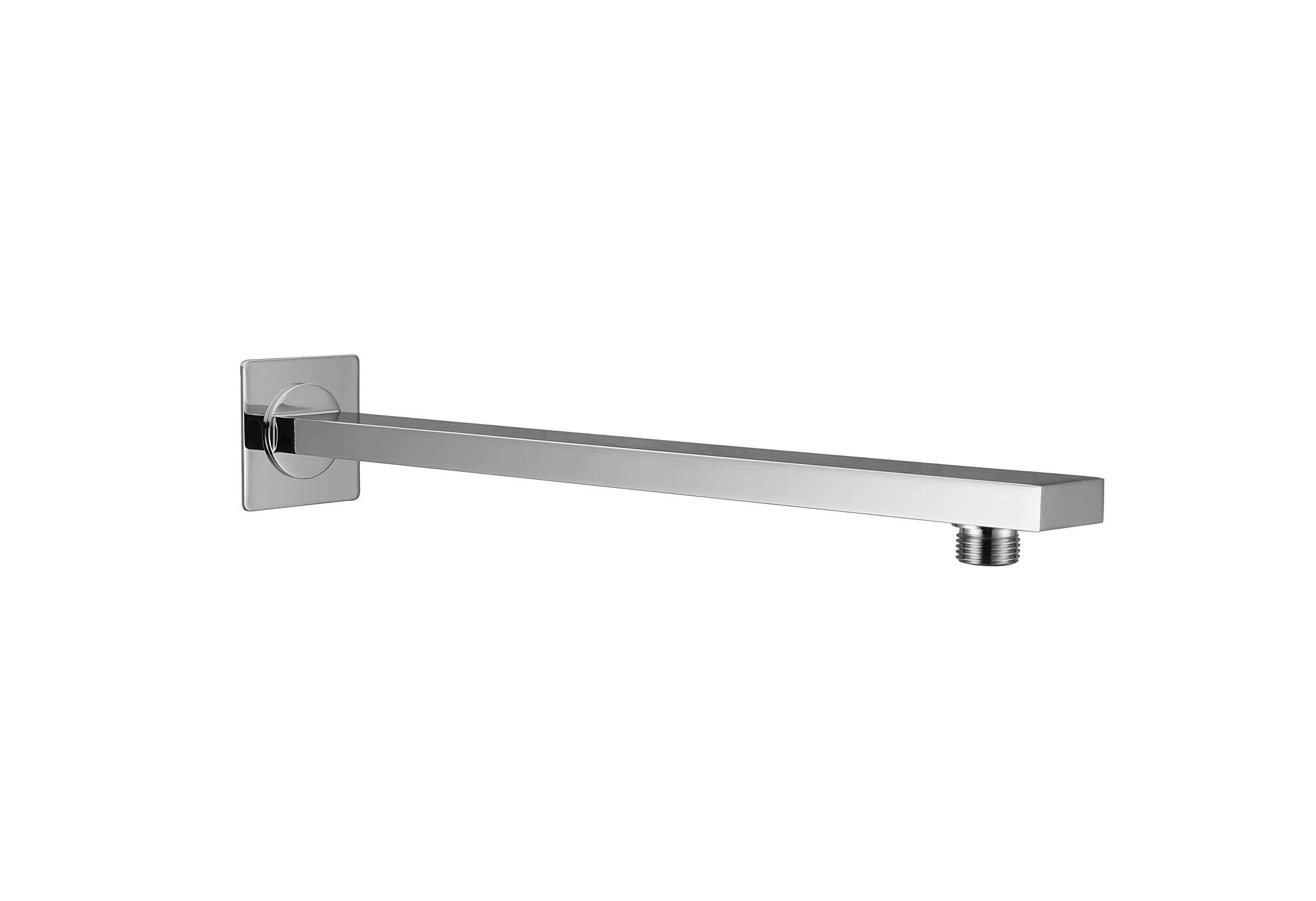 Kelica Stainless Steel Bathroom Square Shower Arm With Flange 17-inch, Polished Chrome