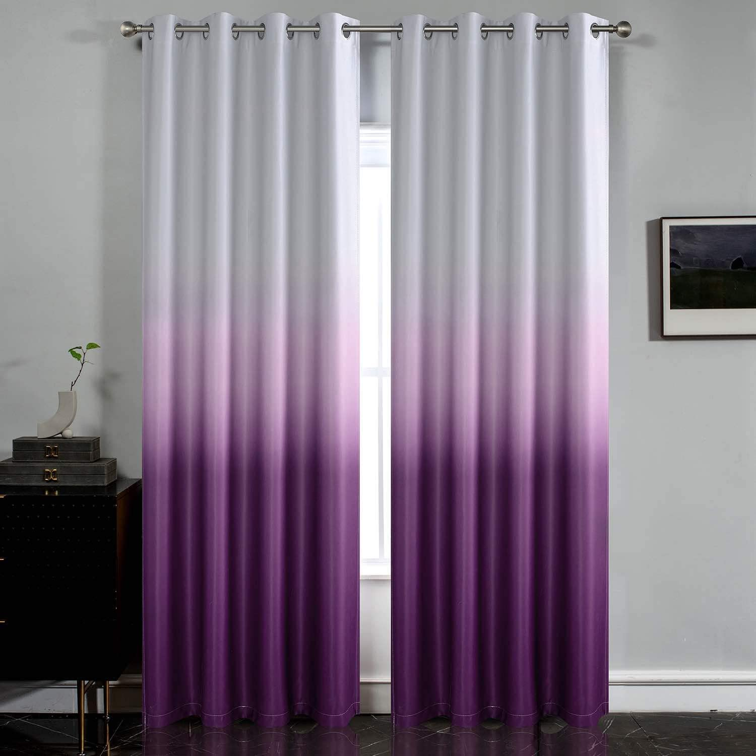 SimpleHome Gradient Color Ombre Room Darkening Curtains Blackout Purple Thermal Insulated Eyelet Top Panels Grommet Window Drapes for Living Room/Bedroom, Purple,52x84 inches