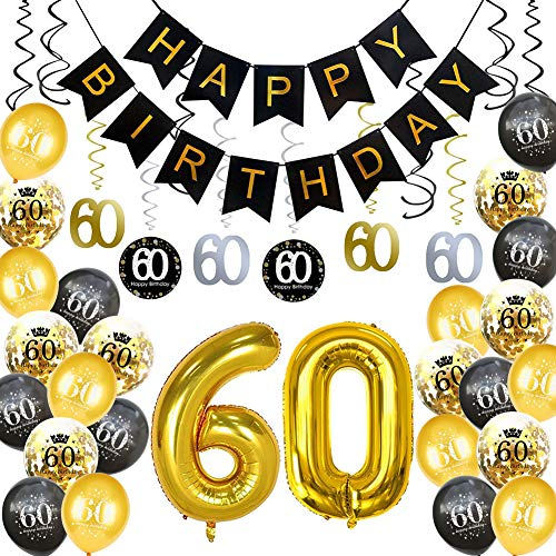 Sixty Birthday Decorations (HankRobot 60th Birthday Decorations Party Supplies(40pack) Gold Number Balloon 60 Happy Birthday Banner Latex Balloons(Black, Golden) Confetti Balloons -Great for 60 Sixty Years Old Birthday)