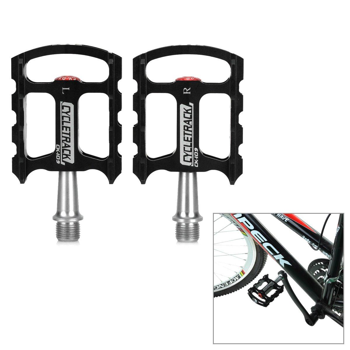 軽量CNCアルミニウム自転車ペダル – ブラック+シルバー( 2個) B0793LGGG4