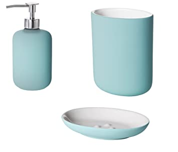 IKEA Badezimmer Set EKOLN Steinzeug Edelstahl In 2 Farben (türkis)