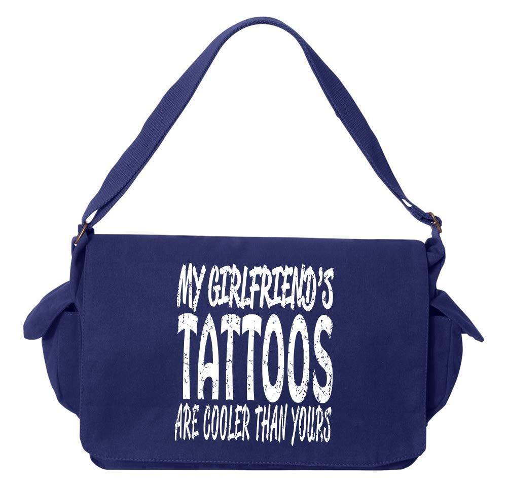 Tenacitee Girlfriends Tattoos Flamingo Raw Edge Canvas Messenger Bag