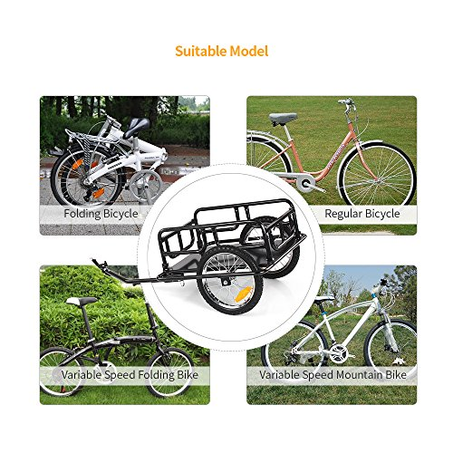 IKAYAA Folding Bike Cargo Trailer Hand Wagon Bicycle Luggage Trailer Storage Cart Carrier with Detachable Metal Frame Hitch by IKAYAA (Image #8)
