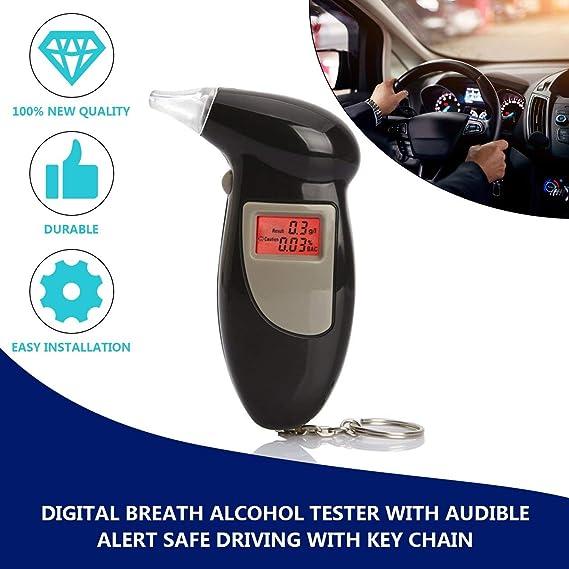 Ballylelly Probador Digital de Alcohol en el Aliento con Alerta Audible Conducci/ón Segura con Llavero Respuesta r/ápida Detector de Alcohol Alcohol/ímetro