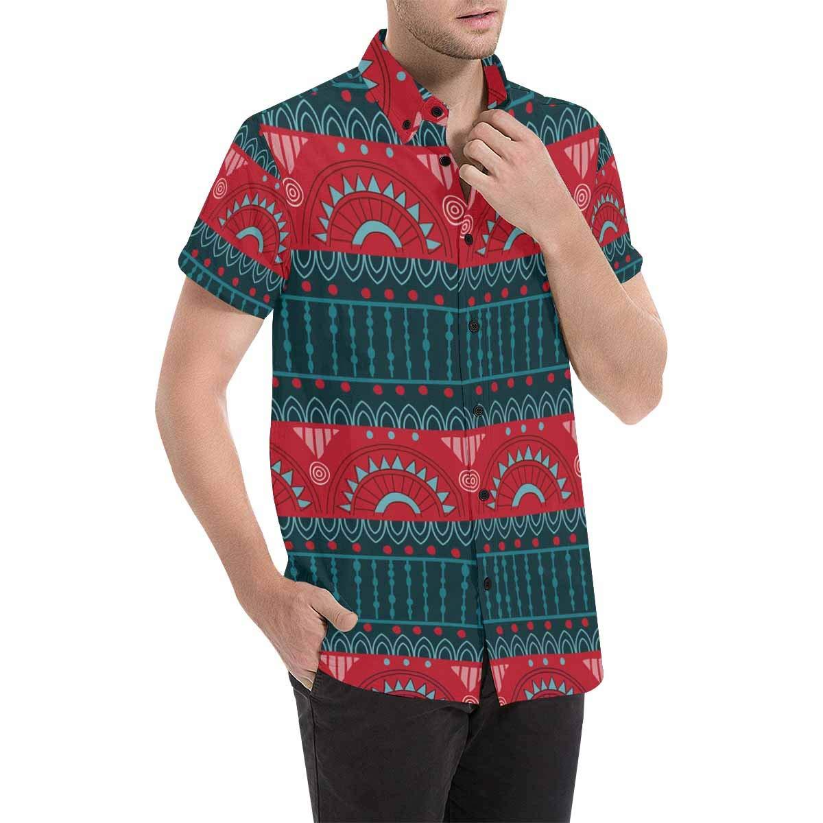 InterestPrint Short Sleeve African Art Tribal Print Casual Button Down Shirts for Men