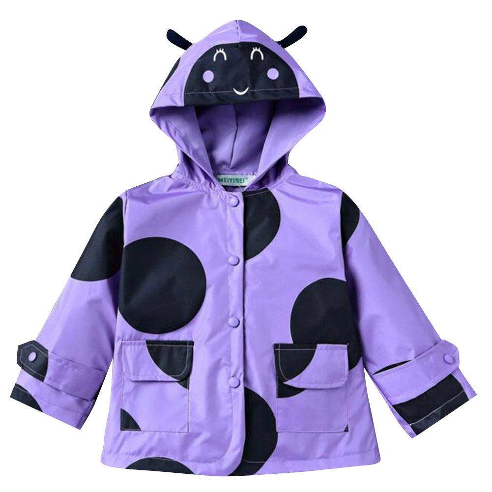 Highdas Niños Niñas Capucha impermeable impermeable y impermeable Outwear abrigo chaqueta azul / 100