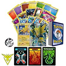 Pokemon GO Team Instinct Collection of 50 Random Pokemon Card Lot - Featuring Zapdos! Rares - Foils - Energy and Coin! Includes 3 Custom Golden Groundhog Tokens! Comes in Tin or Card Storage Box!