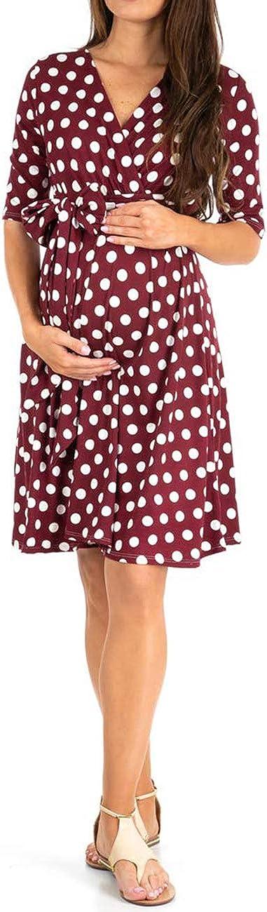 Xuefoo Mujeres de Maternidad Vestido de Maternidad de la Fiesta del Verano Suave Vestido de Las Mujeres Embarazadas Wellen-Punkt-Kleidung cuida