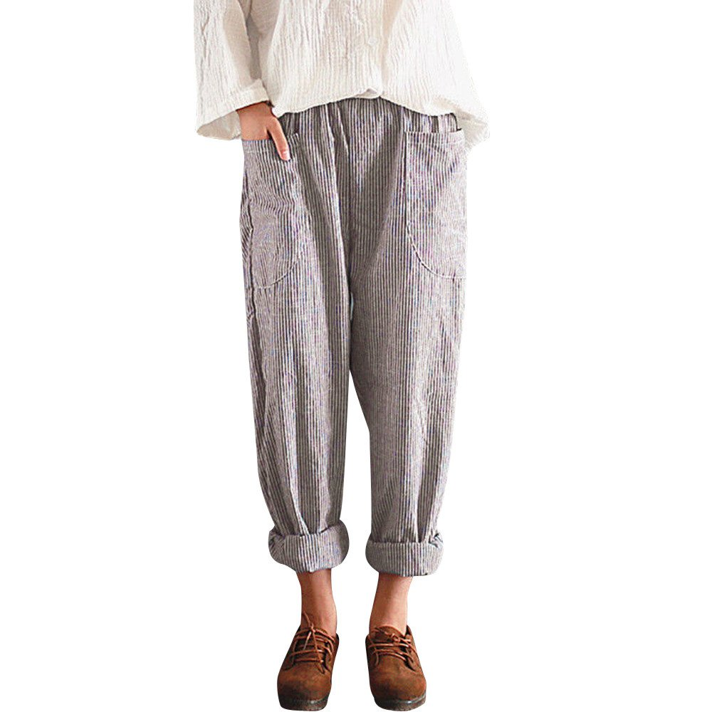 UONQD Women High Waist Vintage Striped Loose Cotton Long Trousers Harem Pants (Large,Khaki)