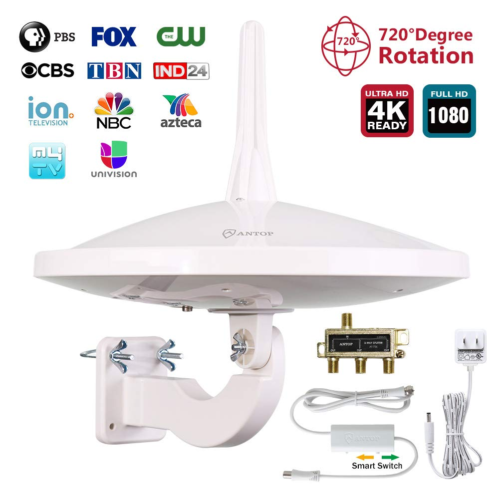 Dual-Omni Directional Outdoor TV Antenna for Multiple TVs,55/65 Mile Range, Amplified Outdoor/RV/Attic HD TV Antenna with Built-in 4G LTE Filter,4K UHD Ready, 33ft Coaxial Cable and Signal Splitter
