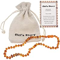 Baltic Amber Teething Necklace for Baby (Unisex)(Cognac) - 33cm Long - Baby Gift Sets - Knotted Between Beads