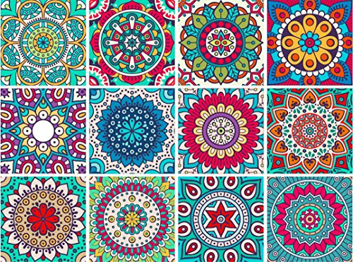 MANDALA Decorative Tile Stickers Set 12 units 6x6 inches. Peel & Stick Adhesive Tile Stickers. Home Decor. Staircase. Furniture Decor. Backsplash Tile Stickers. (Backsplash Tiles Decor)