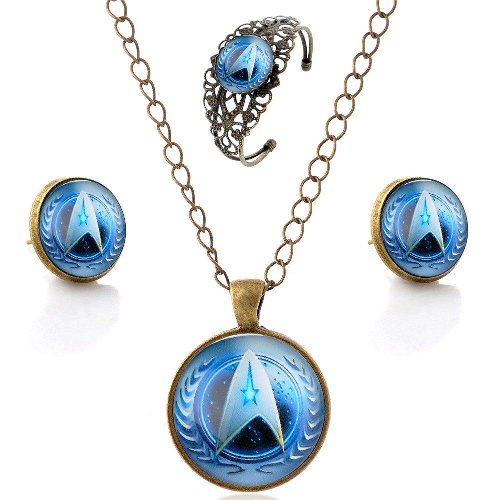 LUREME Bronze Glass Time Gem Star Trek Stud Earrings Necklace Bangle Jewelry Set for Women (js000742-2)