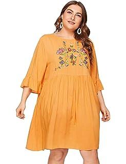 ccbd7516ad0b3 Romwe Women's Plus Size Ruffle Short Sleeve Floral Lace Loose Tunic Swing  Dress