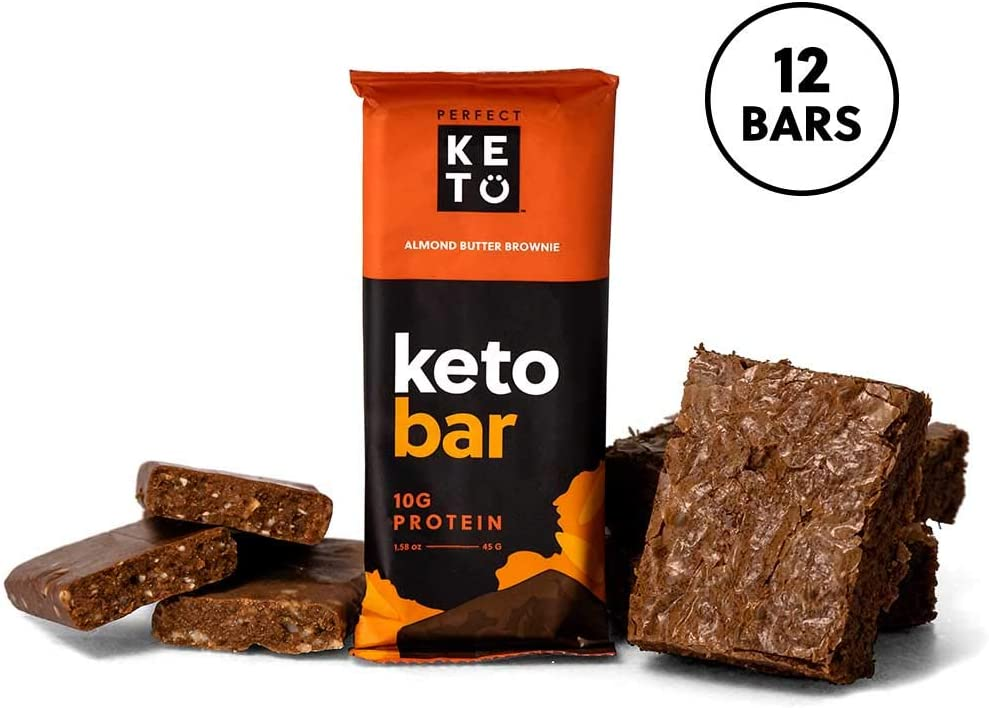 Perfect Keto Protein Snacks - Box of 12 Bars - Low Carb Diet Friendly with Coconut Oil, Collagen, No Added Sugar - Sweet Treat in Almond Butter Brownie Flavor - Individual Packs for Travel, Hiking