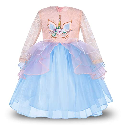 91d77c6db7 Amazon.com: Girls Unicorn Dress up Costume Long Sleeve Lace Gown Party  Princess Tutu Skirt Headband Birthday Outfit for Kids Baby: Clothing