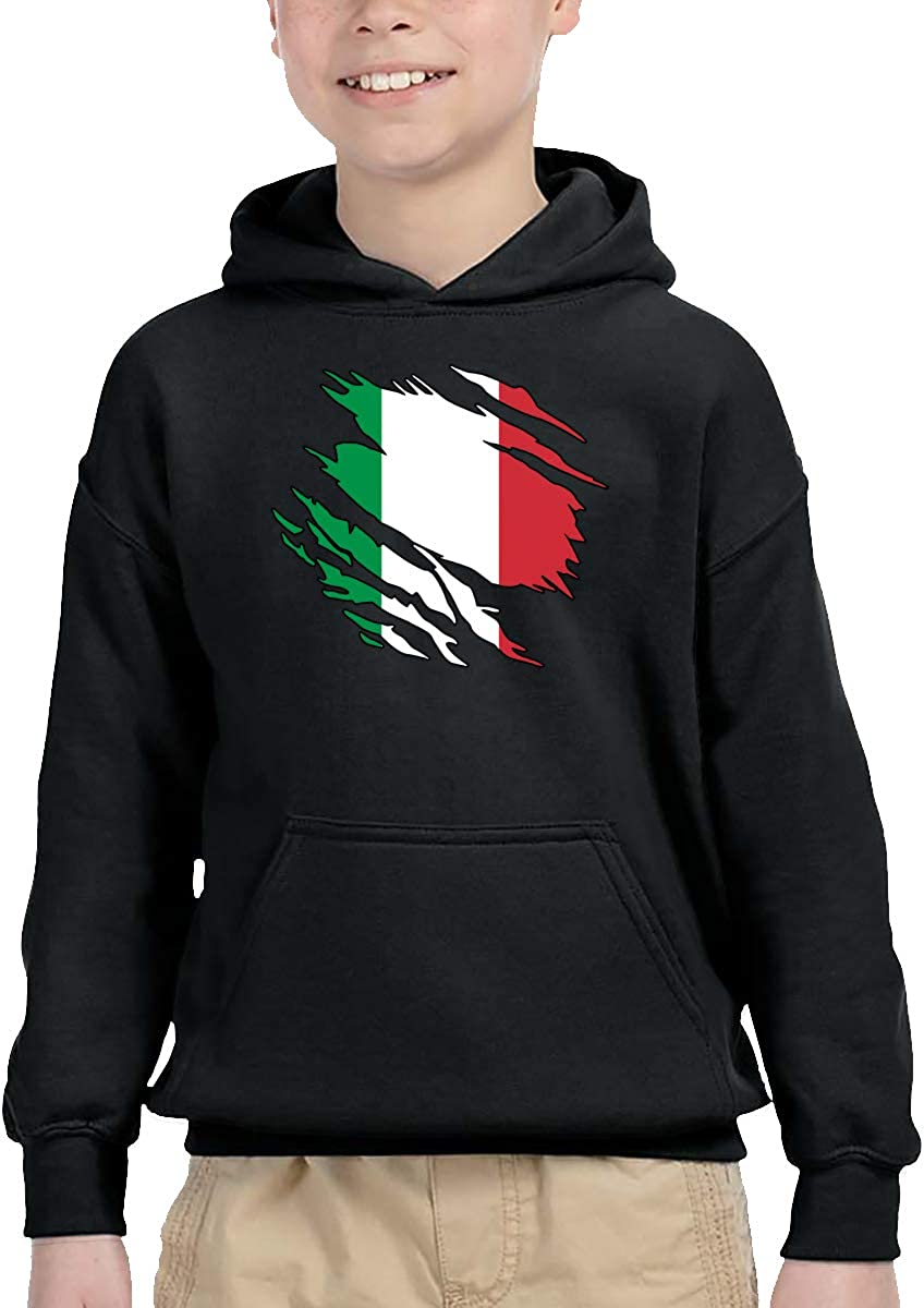UGFGF-1S Ripped Italian Flag Toddler Boys Girls Long Sleeve Sweatshirts Pocket Hoodie 2-6T