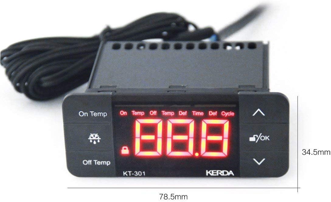 KT-301 Controlador de Temperatura Termostato Frigorífico Sensor de ...