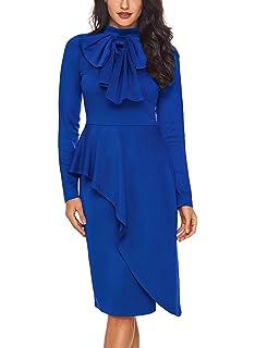 f1fb17c6bf CICIDES Womens Tie Neck Peplum Waist Long Sleeve Bodycon Business Dress (S-XXL)